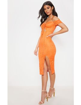 Orange Lace Ruched Cut Out Midi Dress by Prettylittlething