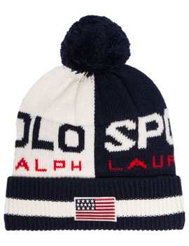Blue And White Logo Pom Pom Embellished Beanie Hat by Polo Ralph Lauren