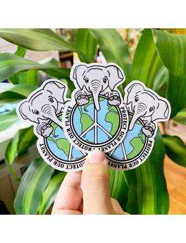 Protect Our Planet Elephant Sticker by Etsy