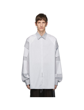 White & Grey Zip Pocket Shirt by Random Identities