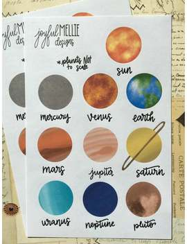 Solar System / Planet Stickers With Pluto, 2 Pack by Etsy