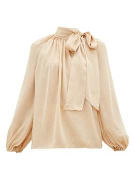 Super Eight Pussy Bow Silk Charmeuse Blouse by Zimmermann