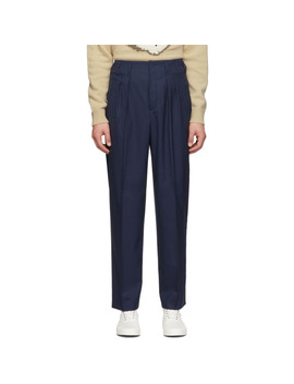 Navy Melange Pleated Trousers by Maison KitsunÉ