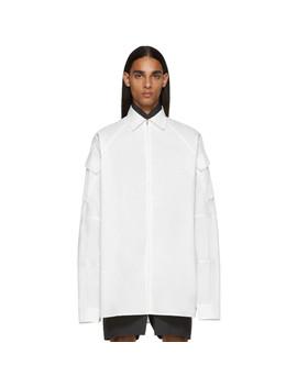 White Zip Up Cargo Pocket Shirt by Random Identities