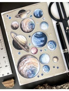 Celestial Bodies Large Designer Flake Journal Stickers   Planet Stickers Hand Painted Designer Ephemera   Star &Amp; Space Stickers Eco Friendly by Etsy
