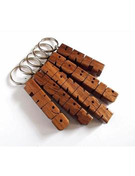 Name Keychain In Walnut Wood, Custom Carved To Order by Etsy