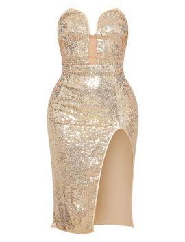 Gold Sequin V Bar Extreme Split Midi Dress by Prettylittlething
