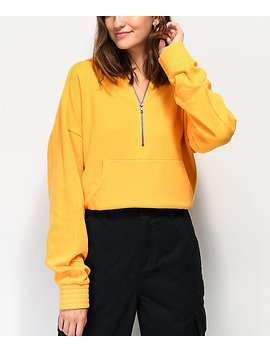 Zine Serenity Gold Quarter Zip Crop Hoodie by Zine