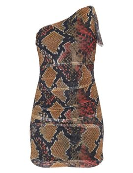 Multi Snake Print One Shoulder Bodycon Dress by Prettylittlething
