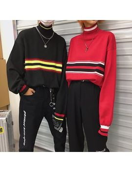 Genki Groove   Couple Matching Striped Mock Neck Sweater by Genki Groove