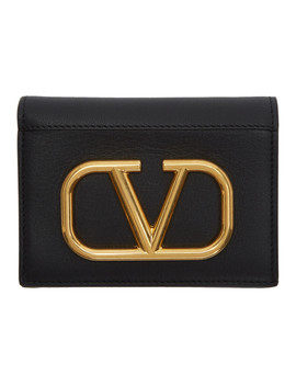 Black Valentino Garavani V Logo French Wallet by Valentino