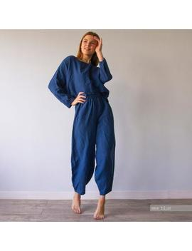 Harem Pant Pajama, Loose Pants, Wide Trousers, Pajama Set, Pyjama Set, Linen Pyjama, Linen Pyjama, Blue Pajama, Pink Pajama, White Pajama by Etsy