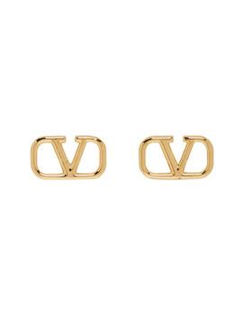 Gold Valentino Garavani V Logo Loop Earrings by Valentino
