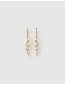 Snake Drop Huggie Earrings by Izoa