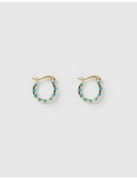 Mini Papaya Gold & Enamel Hoop Earrings by Arms Of Eve