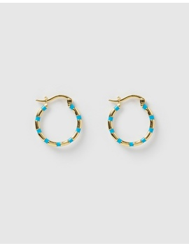 Papaya Gold & Enamel Hoop Earrings by Arms Of Eve