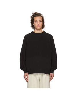 Black Change Overed Crewneck Sweater by Kuro