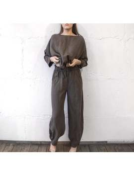 Linen Pajama Set With , Bloomers Pants And Wide Sleeve Top , Linen Wide Pants , Long Linen Pants , Turkish Style Pants , Linen Pants Len.Ok by Etsy