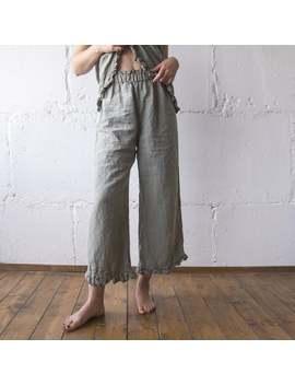 Linen Pant Ruffle , Linen Pants , Linen Clothing , Linen Woman Clothing , Linen Pant S M L Xl Xxl Oversize , 100% Linen Loose Pants Len.Ok by Etsy