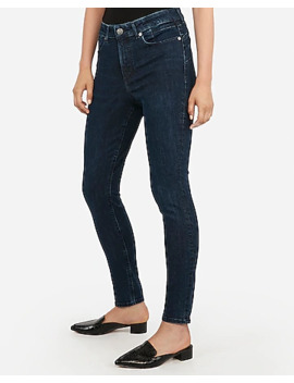 High Waisted Denim Perfect Curves Lift Dark Wash Ankle Leggings by Express
