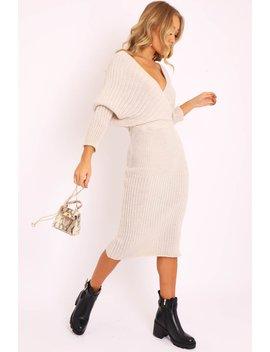 Beige Wrap Front Knit Midi Dress   Edan by Rebellious Fashion