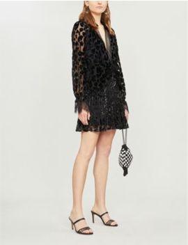 Lace Trimmed Metallic Leopard Print Crepe Mini Dress by Self Portrait