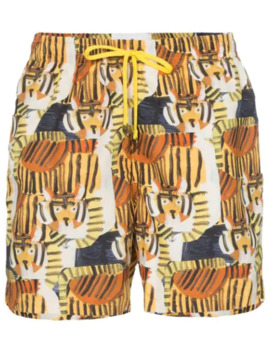 Tiger Print Drawstring Swim Shorts by Timo Trunks
