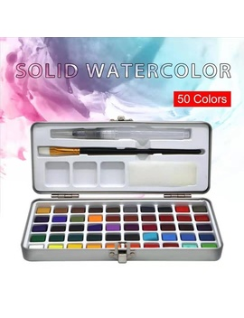 Seami Art 50 Color Solid Watercolor Paint Set Portable Metal Box Watercolor Pigment For Beginner Drawing Watercolor Paper Supplies by Wish