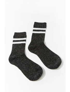 Metallic Striped Trim Crew Socks by Forever 21