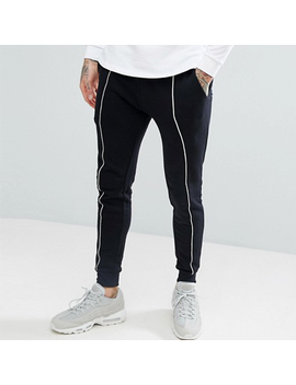 Skinny Black With White Piping Men Joggers by Custom Brand