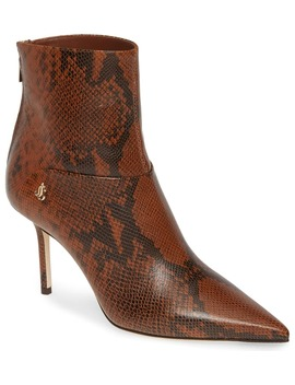 Beyla Snake Embossed Pointed Toe Bootie by Jimmy Choo