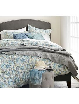Jessie Scroll Organic Percale Duvet, Full/Queen, Blue Multi by Pottery Barn