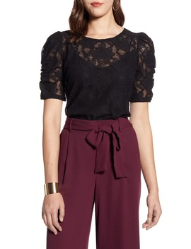 Ruched Sleeve Lace Blouse by Halogen®