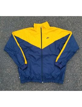 Vintage 2000s Nike Silver Tag Waffle Racer Yellow/Navy Windbreaker Jacket Size L by Nike