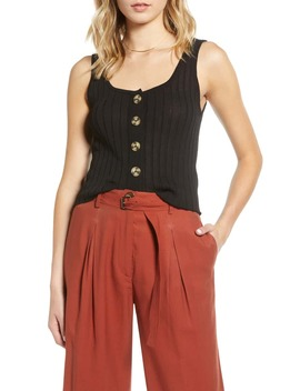 Button Front Crop Sweater Tank by Moon River