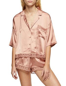 Lace Trim Satin Pajamas by Topshop