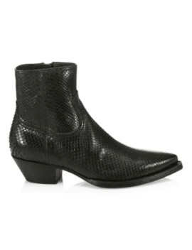 Lukas Python Leather Ankle Boots by Saint Laurent