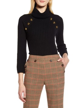 X Atlantic Pacific Button Detail Turtleneck Sweater by Halogen®