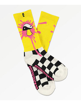 Psockadelic Slime Yellow Checker Crew Socks by Psockadelic
