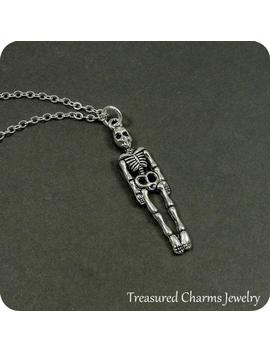 Human Skeleton Necklace, Silver Skeleton Charm On A Silver Cable Chain by Etsy