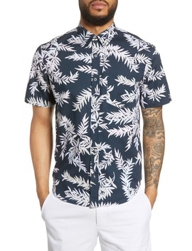 Slim Fit Bosque Leaf Print Shirt by Club Monaco