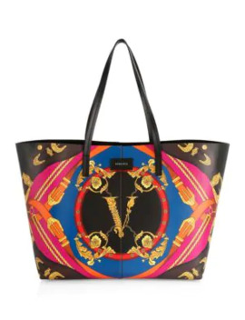 Rodeo Print Leather Tote by Versace