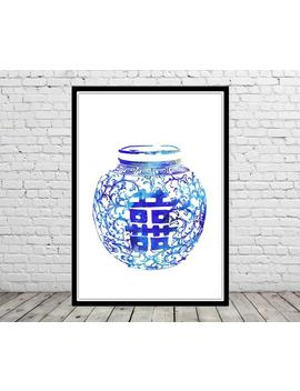 Ming Vase, Double Happiness, Blue And White China Vase, Chinoiserie Print Ming, Ginger Jar Print, Watercolor Ginger Jar, Ginger Jar Art by Etsy