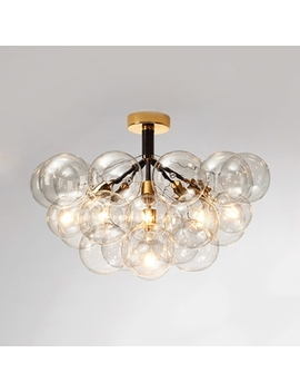 Modern Bubble Semi Flush Ceiling Light 3/4/6 Lights Clear Glass Ceiling Lamp In Black/Brown For Cafe by Beautiful Halo