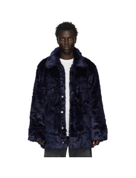 Navy Faux Fur Jacket by Landlord