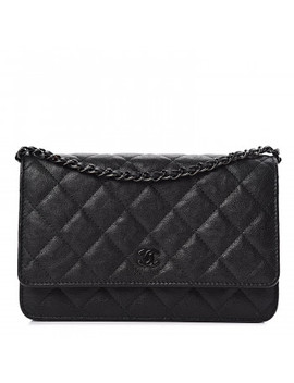 Chanel Crumpled Calfskin Quilted Wallet On Chain Woc So Black by Chanel