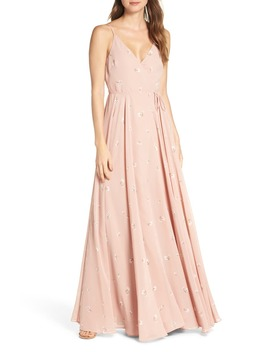 James Ditsy Floral Print Wrap Chiffon Evening Gown by Jenny Yoo