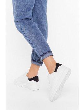 Contrast Back Tab Flatform Sneaker by Nasty Gal