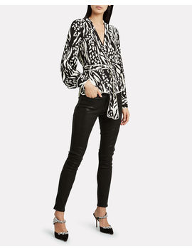 Clive Animal Print Crepe Top by Veronica Beard
