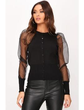 Black Organza Sleeve Knitted Cardigan by I Saw It First